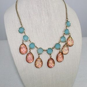 Cookie Lee Gold Blue and Coral Necklace